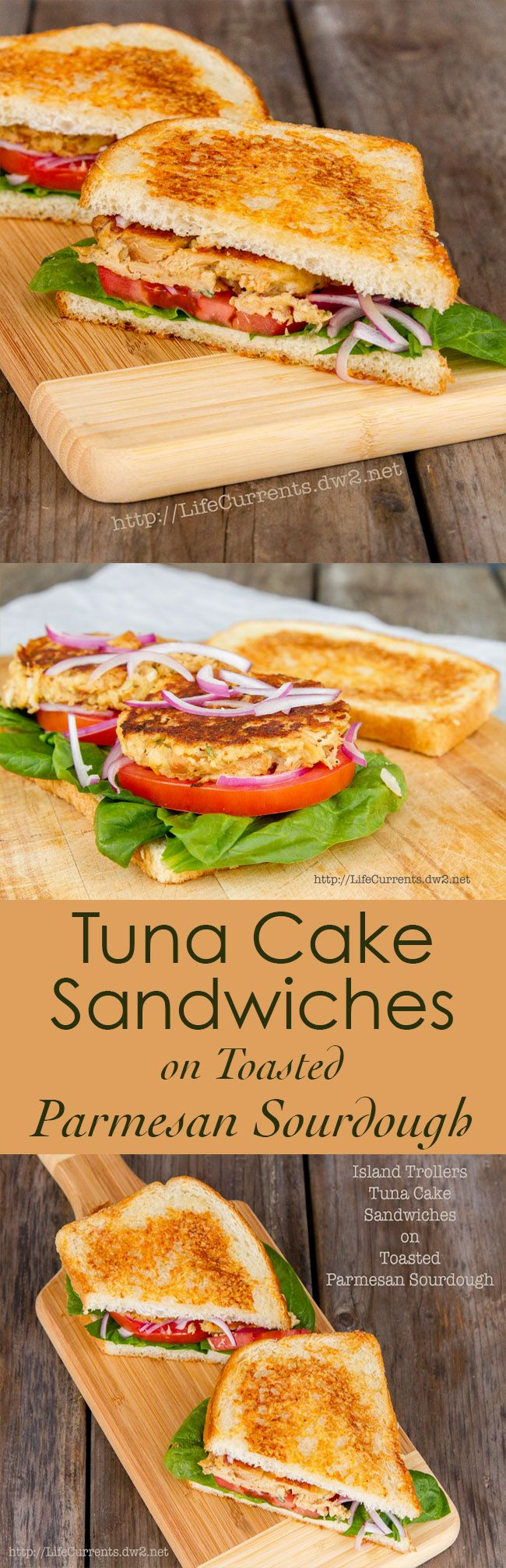 Tuna Cake Sandwiches on Toasted Parmesan Sourdough a great satisfying lunch!