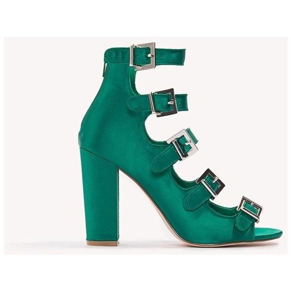 NA-KD Shoes Multi Buckle Satin Heels ($59) ❤ liked on Polyvore featuring shoes, green, open toe shoes, green shoes, zipper shoes, green satin shoes and buckle shoes