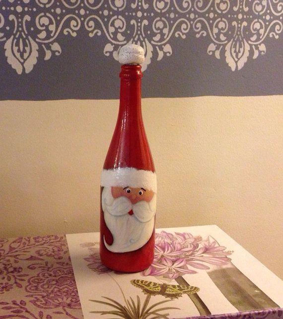 Christmas Hand Painted Santa's Wine Bottle by6 RosBelTreasures, $20.00