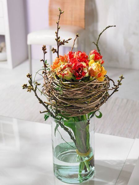 .love the nest full of little flowers idea...to just sit on the table...