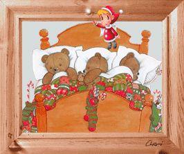 gif animé fêtes de noel 3 oursons dorment profondément pendant qu'un petit ange de noel agite sa baguette magique au dessus de leur lit