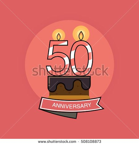 50 Colorful Birthday Candles number, Anniversary Logo Design Isolated on Pink Background