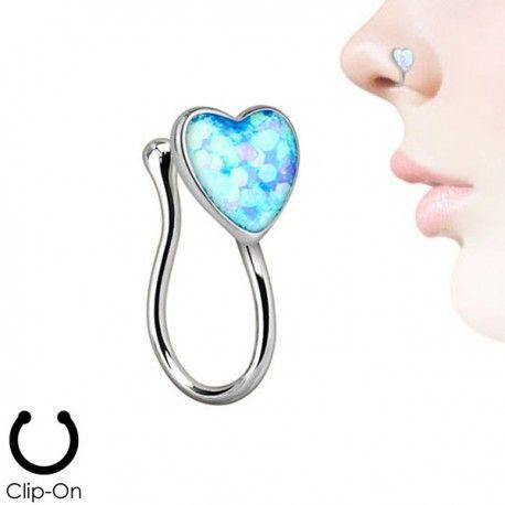 Faux Piercing Nez Acier coeur et Opale https://piercing-pure.fr/p/465-faux-piercing-nez-acier-coeur-et-opale.html #coeur #opale #fauxpiercingnose #fauxpiercing