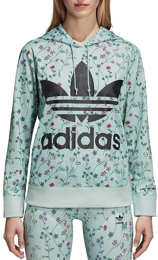 1eb8ada300d adidas Originals Floral Print Logo Hooded Sweatshirt