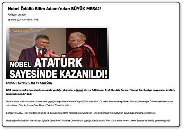 #Nobel Ödüllü Bilim Adamı, Aziz Sancar: ''Nobel #Atatürk sayesinde kazanıldı.'' @AzizGwenSancar #quote