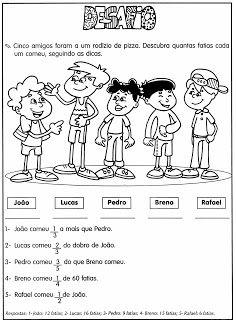 """DESAFIOS MATEMÁTICOS. PROBLEMAS ILUSTRADOS. MODELOS DE ATIVIDADES DE MATEMÁTICA PARA 4º , 5º e 6º ANOS ~ """" Cantinho do Educador Infantil """""""