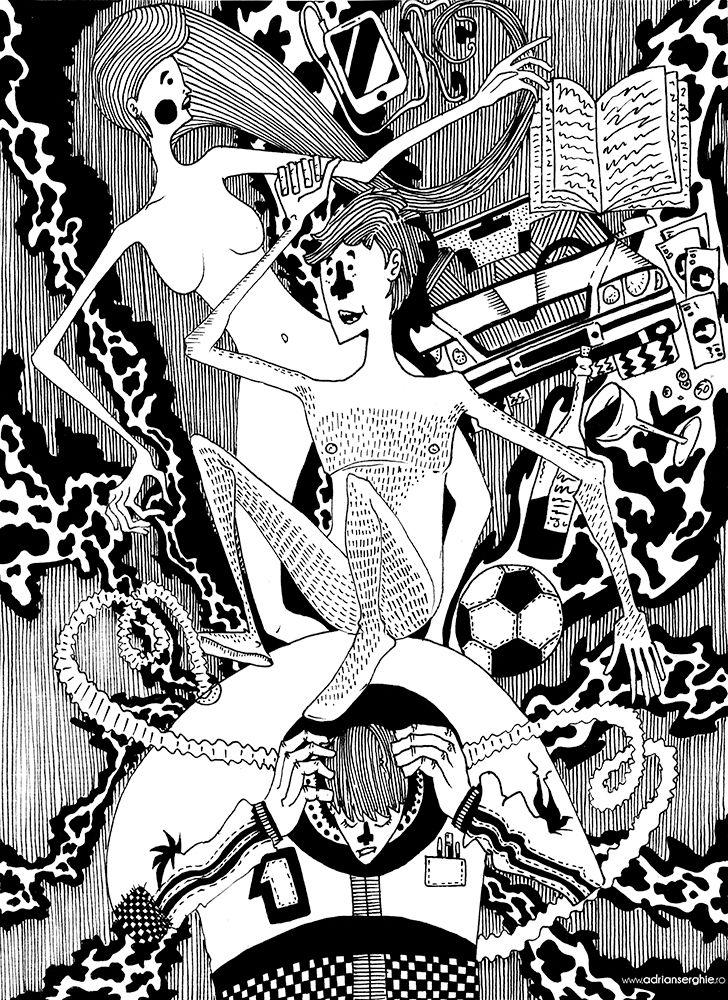 Astronaut (2013) ink paper illu - adrianserghie   ello