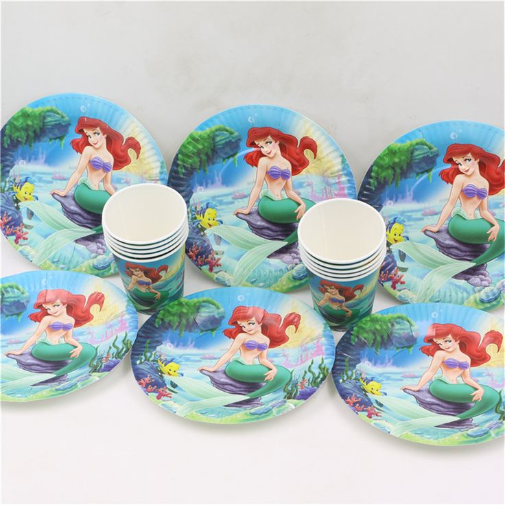 40pcs 20paper plate + 20pcs cup mermaid theme happy birthday party supplies disposable tableware set //Price: $15.38 & FREE Shipping //     #partysupplieslight