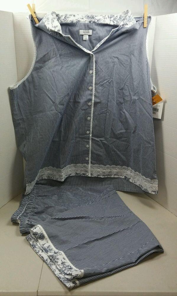 Celestial Dreams Collection Women's PJ Set Blue/White PinstripePlus 2X (18W-20W) #CelestialDreams #PajamaSets