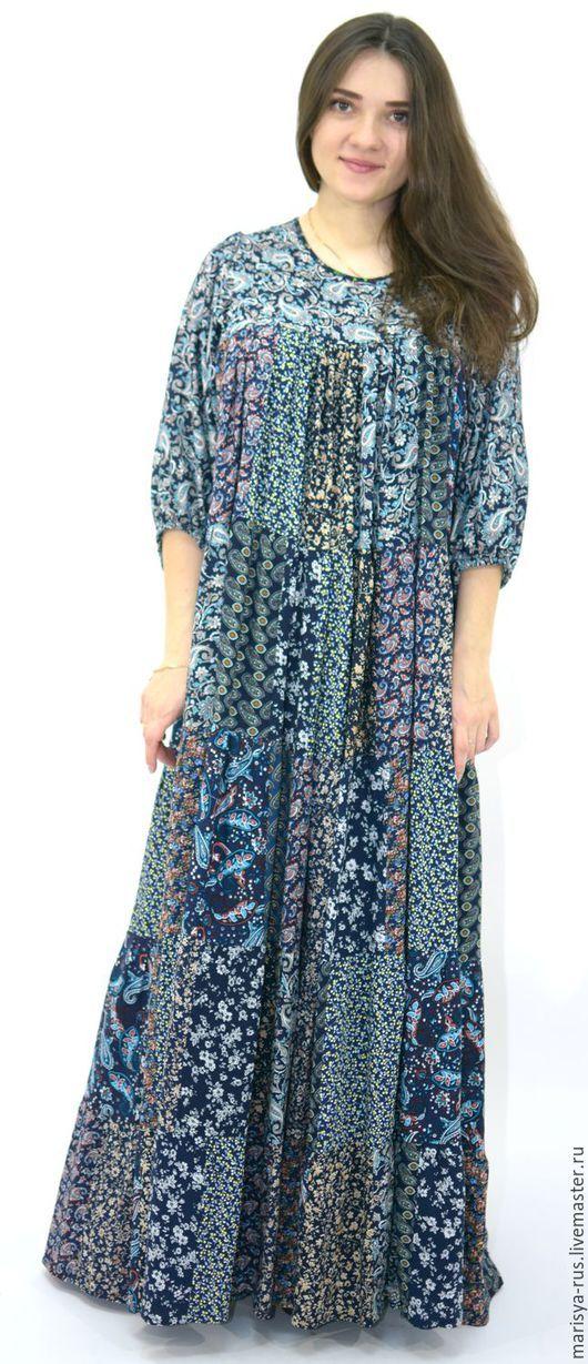 """Платья ручной работы. Ярмарка Мастеров - ручная работа. Купить Лоскутное платье """"Параскева"""". Handmade. Тёмно-синий, платье в пол"""