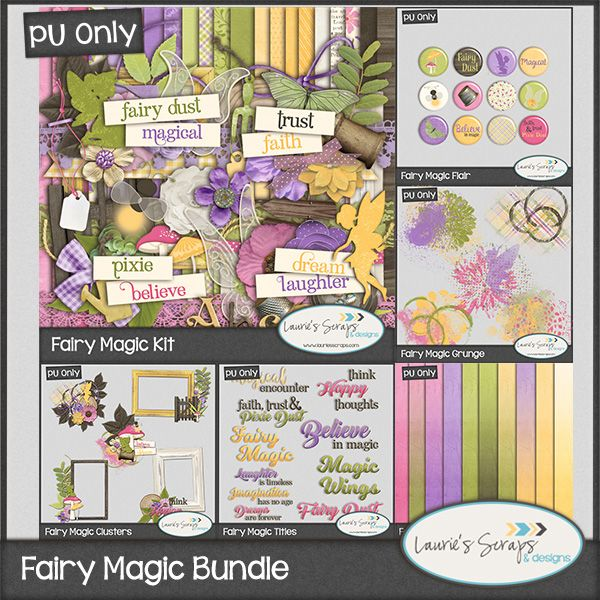 Fairy Magic Digital Scrapbook Bundle is Perfect for your Fairy Garden, Disney, and little girl scrapbook pages!