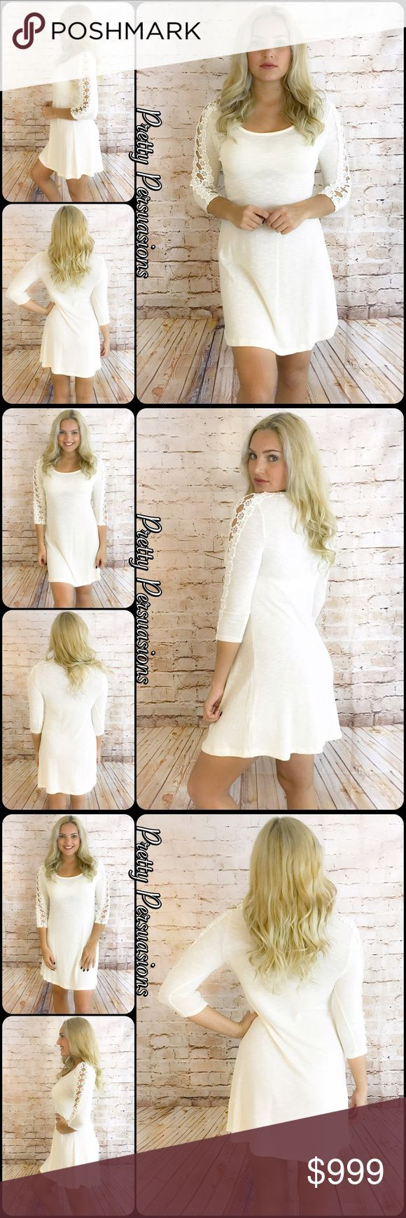 """NWT Cream & Crochet Sleeve Dress Tunic NWT Cream & Crochet Sleeve Dress Tunic  Available in S, M, L Measurements taken from a small  Length: 33"""" Bust: 34"""" Waist: 32""""  Rayon/Nylon/Spandex/Poly Made in the USA  Features  • 3/4 sleeves w/crochet accents  • rounded neckline  • super soft, breathable material w/stretch • relaxed, easy fit  Bundle discounts available  No pp or trades  Item # 1/105150380CCD cream crochet Pretty Persuasions Dresses"""