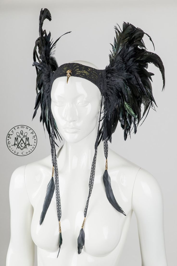 Feather headdress Black wings Valkyrie headpiece with lace feather tassels Edgy fashion Burning man Dark fusion LARP cosplay headgear by MetamorphDK on Etsy https://www.etsy.com/listing/209214337/feather-headdress-black-wings-valkyrie