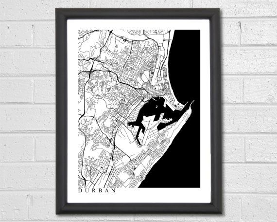 FREE SHIPPING ON ALL ORDERS IN THE USA!  Beautiful print of Durban Streets. The vast network of winding roads provides for a stunning design