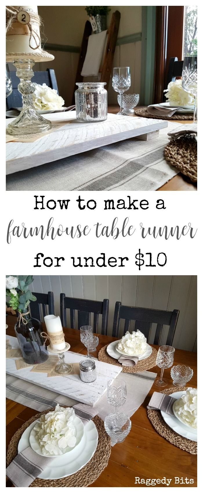 Sharing how to make a Farmhouse Table Runner with Ikea Tea Towels for under $10 | www.raggedy-bits.com