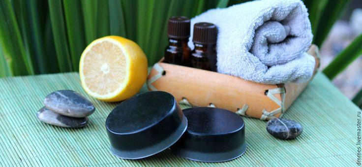 Купить Черное мыло с углём - черный, мыло для проблемной кожи, угольное мыло, черное мыло
