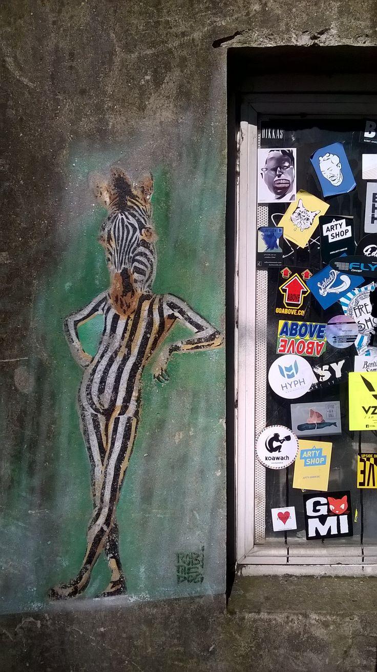 Street Art in Berlin, Germany. Artist: Robi the Dog, a Streetartist from Switzerland. IB