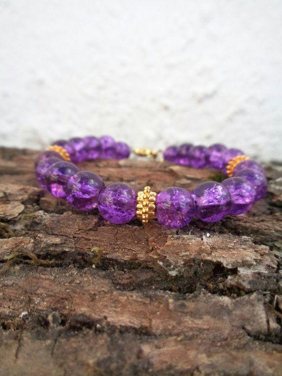 Purple temptation OOAK friendship bracelet / Bohemian bracelet / Summer bracelet/ Glass crackle bracelet / Beaded bracelet / Ethnic bracelet
