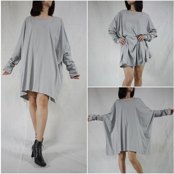 Plus Size Funky Boho Longsleeve Scoop Neck Grey Jersey Blouse Tunic... ($39) ❤ liked on Polyvore featuring tops, blouses, silver, women's clothing, womens plus tops, boho tops, round top, long sleeve scoop neck top and plus size tops