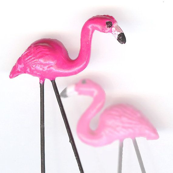 ONE  Pink Flamingo Lawn Ornament For Your by intothewoodsminis