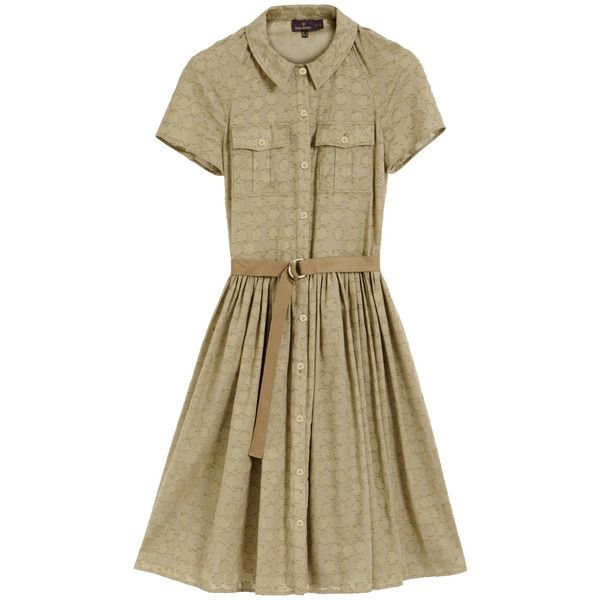 Full Shirt Dress Summer Khaki Clover Jacquard (1,200 CAD) ❤ liked on Polyvore featuring dresses, vestidos, day dresses, summer dresses, brown dress, button shirt dress, khaki shirt dress and collared shirt dress