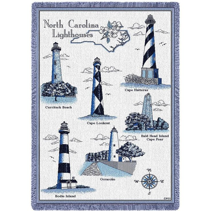 Lighthouses of North Carolina Art Tapestry Throw
