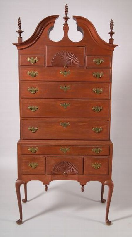 Awesome Livermore Family Queen Anne Red Painted Cherry Carved High Chest Of Drawers
