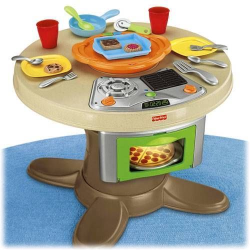 New servin surprises kitchen table toy oven hot plate for Play kitchen table