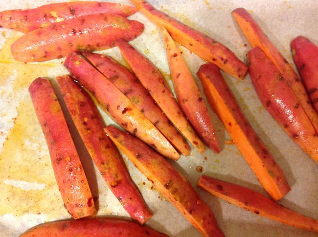 Sweet potato wedges, Potato wedges and Spicy on Pinterest