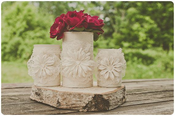 Three vintage lace can vases. Ivory/cream. Wedding centerpiece decor. Barn vintage wedding. $28.00.