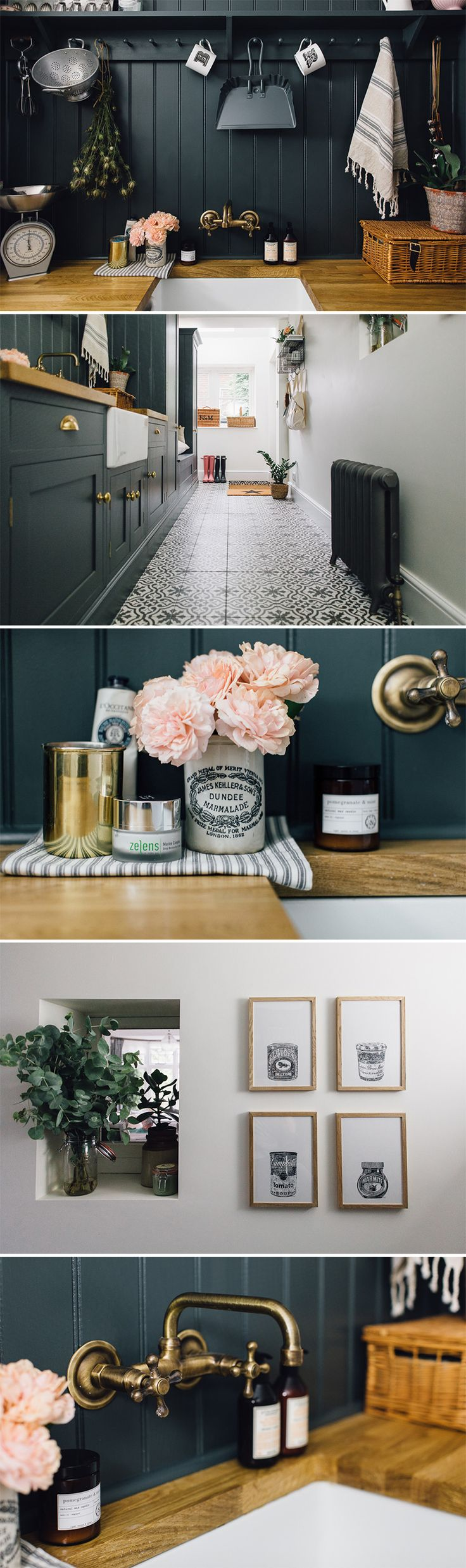 Utility And Boot Room With Down Pipe Painted Custom Tiles And Patterned Tile Floor. Farrow and Ball | Downpipes | Customer tiling | Patterned tile floor | Utility space | Utility room decor | Boot room decor | Blush and grey decor