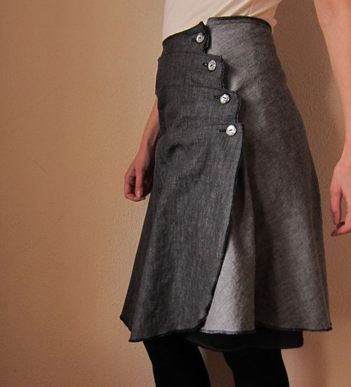 Slash and spread edge of wrap skirt to make pleats - I like the idea of putting buttons on a wrapped skirt
