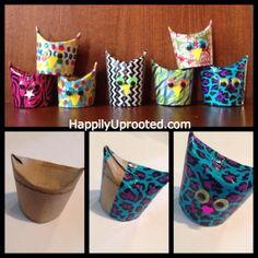Washi tape toilet paper roll owls! Easy and inexpensive! Use what you have at home! We plan to use these as ornaments on our tree since we are traveling and left ours at home!