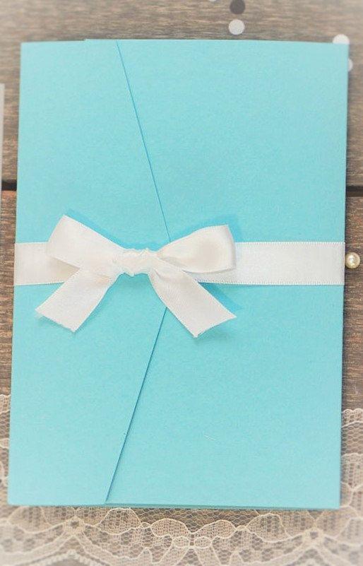 Aqua Blue Wedding Invitation set with RSVP, Mailing Envelope and RSVP Envelopes