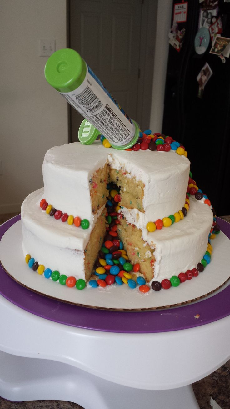 We spilled the M&Ms inside the cake as well!