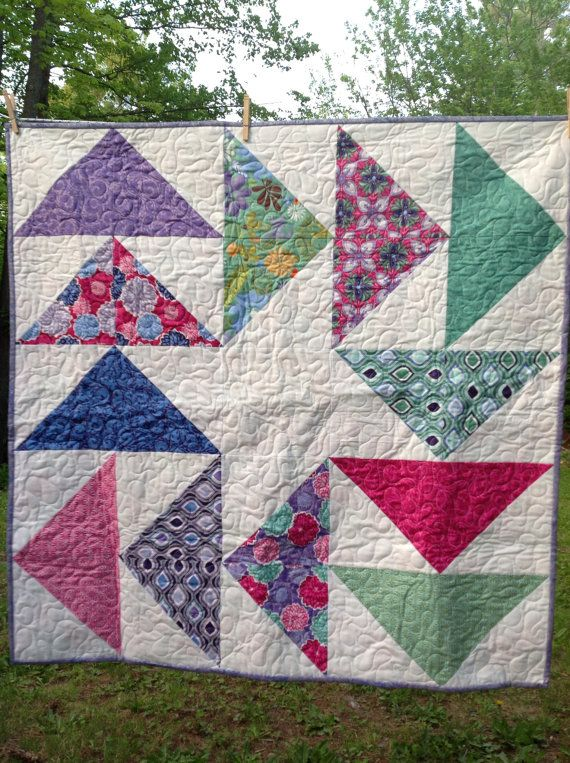 Terrain Baby Flying Geese-- purple, blue, white, green, pink -- pattern also…