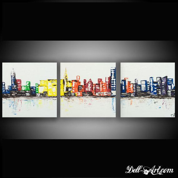 Title: New York City Three Canvas Skyline Oil and acrylic on canvas  Bye Dell-Art