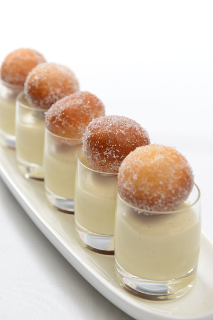 Warm Doughnut Holes with White Chocolate and Tonka Bean Mousse - needs a mini spoon also