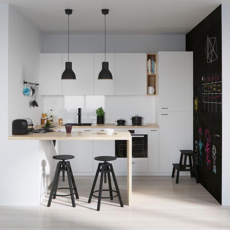 aménagement petite cuisine blanche avec bar en bois et peinture murale tableau noir