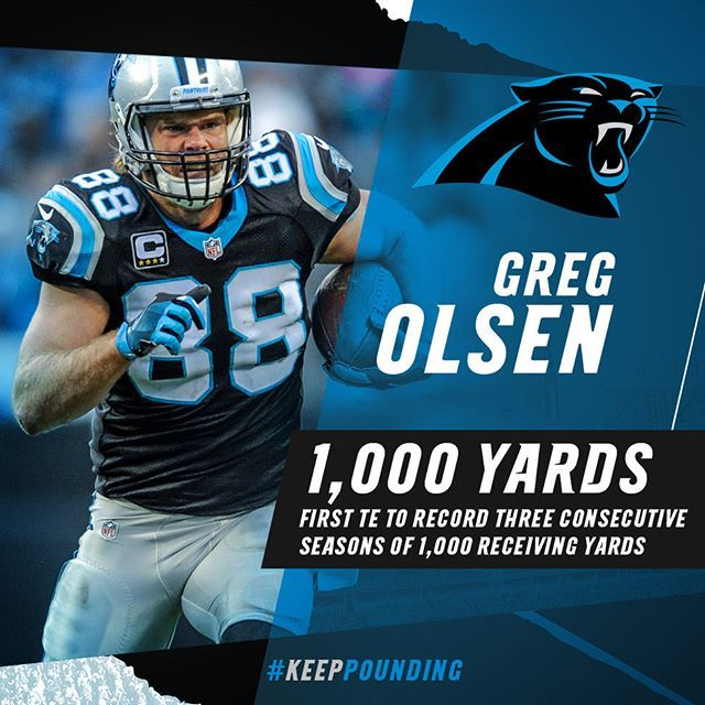 Congrats Greg! Mr. Reliable is the first tight end in @nfl history to record three consecutive 1,000-yard seasons. #OlsenWPMOYChallenge.