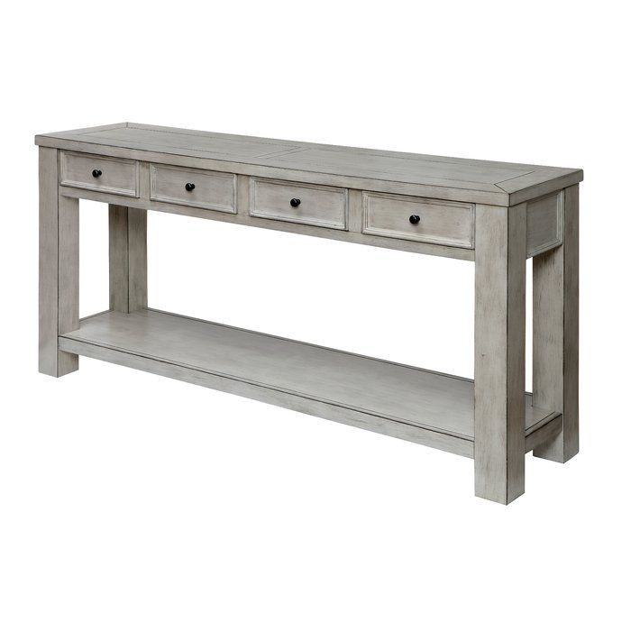 Janousek 64 Solid Wood Console Table White Sofa Table Rustic Sofa Tables Farmhouse Sofa Table