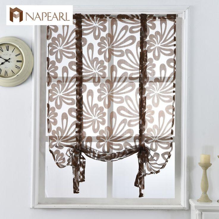 Nhà bếp ngắn rèm cửa jacquard rèm roman hoa trắng sheer bảng điều chỉnh màu xanh tulle xử lý cửa sổ cửa rèm cửa trang trí nội thất