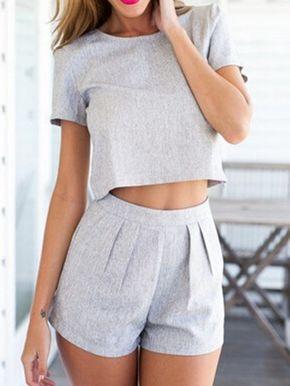 Grey Crop Top with High Waist Shorts