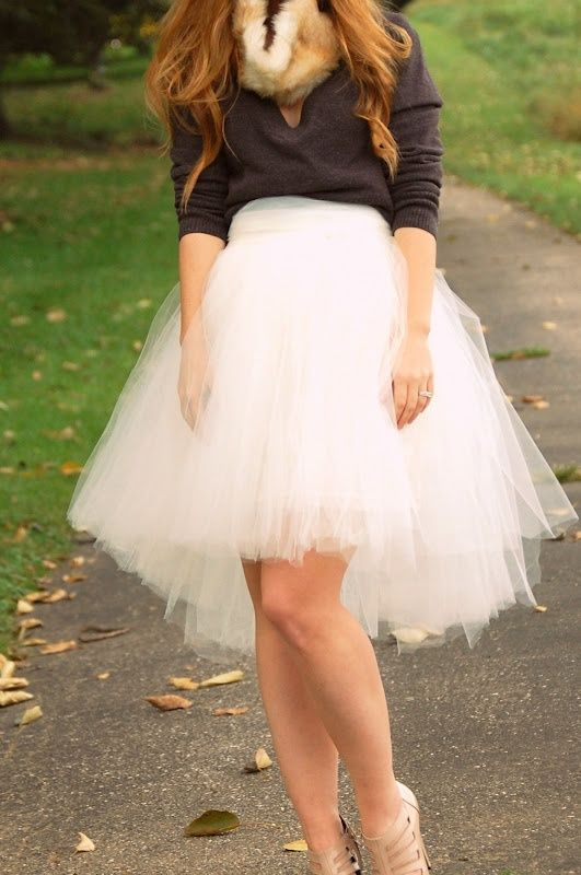 Homemade Tulle Skirt, Fur Collar!