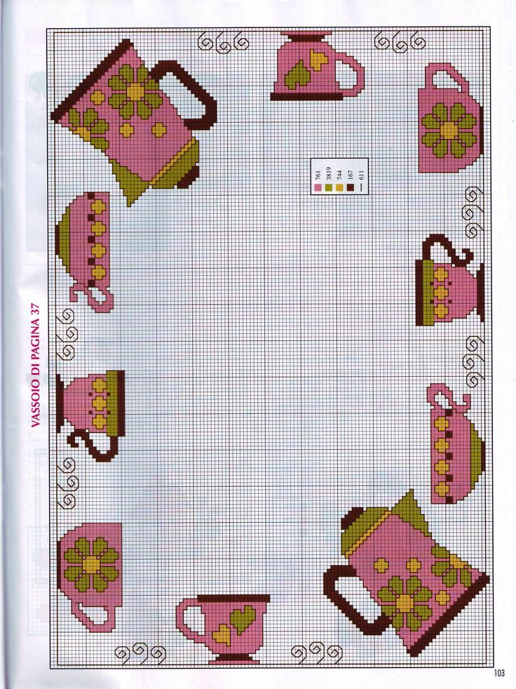 This is a miniature tea set cross stitch chart / cross stitch pattern, but may also be used for: crochet, knitting motifs, knotting, loom beading, Perler beading, weaving and tapestry design, pixel art, micro macrame, friendship bracelets, and anything involving the use of a charted pattern.