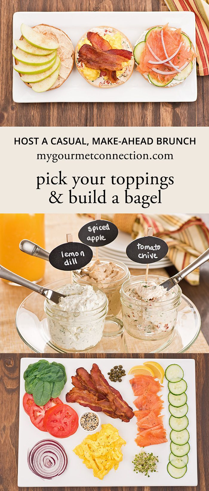 How To Host A Brunch ~ Homemade cream cheese spreads and an assortment of toppings for a make-ahead Build-Your-Own Bagel Buffet w/ @cbcbreads @AOL_Lifestyle #CBCBreakfast #sponsored