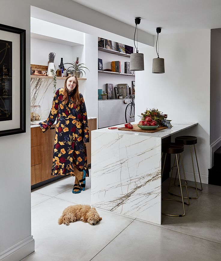 ESSENTIAL KITCHENS & PLUCK LONDON - Creative Director Amy Powney was featured in the January issue in her new kitchen, with adorable dog Roxy.  #motherofpearl #pearlyqueen #amypowney #interiors #kitchens