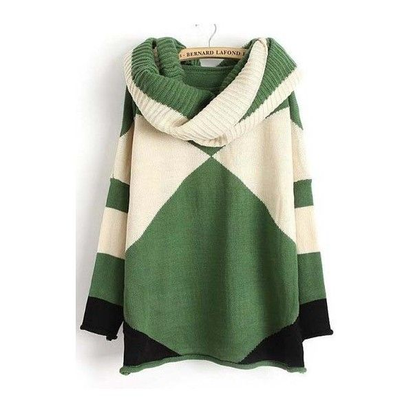Round Neck Long Sleeve Color Block Sweaters (€23) ❤ liked on Polyvore featuring tops, sweaters, color block, colorblock top, block tops, colorblock sweater, green sweater and round neck top