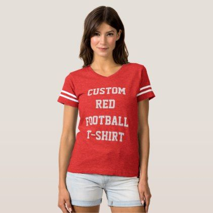 Custom Personalized Women's RED FOOTBALL T-SHIRT  $29.95  by CustomRed  - cyo customize personalize diy idea
