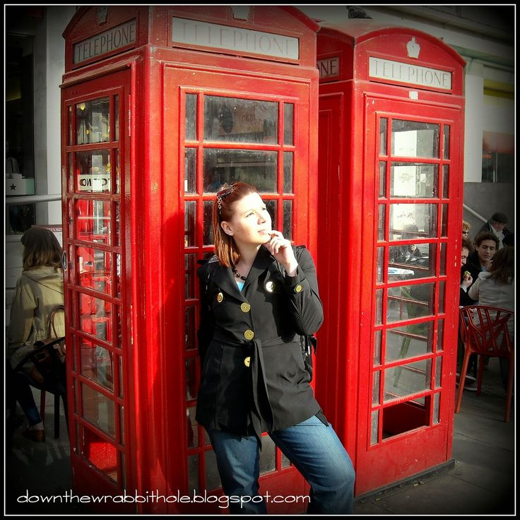 """Having fun with some London telephone booths. Find out more at """"Down the Wrabbit Hole - The Travel Bucket List"""". Click the image for the blog post."""